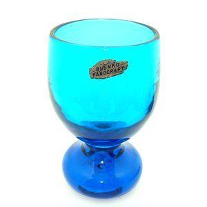 Vintage Blenko blue glass vase mid century modern